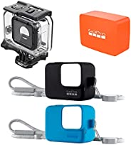 GoPro HERO7 Black Bundle de Accesorios - Funda Sleeve Lanyard Negra + Funda Sleeve Lanyard Azul + Super Suit +