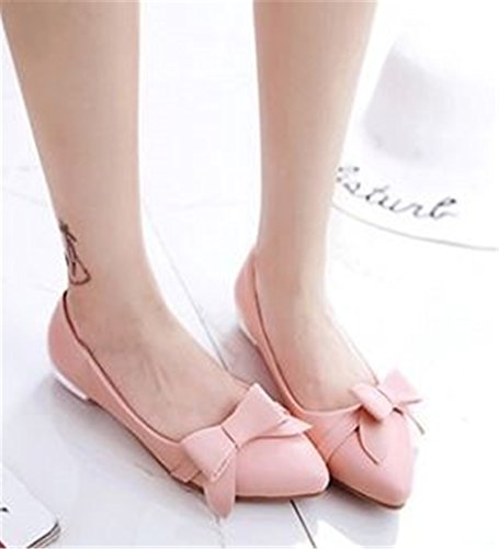 satisfied Slip Ballerina Bow Shoes Comfort Pink On Dress Ballet Women's Flats Shoes ZRBZwq