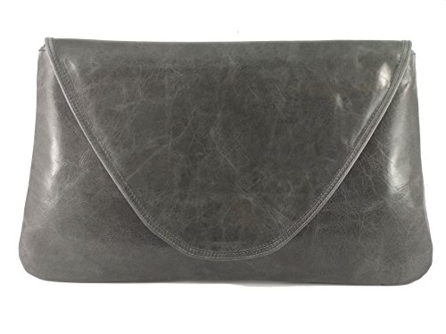 Bag Occasion Real Shoulder Wedding Bag Bag Charcoal Party Leather Womens Large Loni Grey Attractive Clutch 0tYPBHw