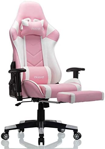 OHAHO Gaming Chair Racing Style Office Chair Adjustable Massage Lumbar Cushion Swivel Rocker Recliner Leather High Back Ergonomic Computer Desk Chair with Retractable Arms and Footrest (Pink/White)