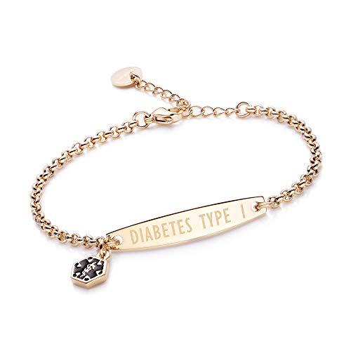 linnalove-Gold Simple Rolo Chain Medical Alert id Bracelet for Women & Girl-Diabetes Type 1 (Medical Gold Id Alert Tag)