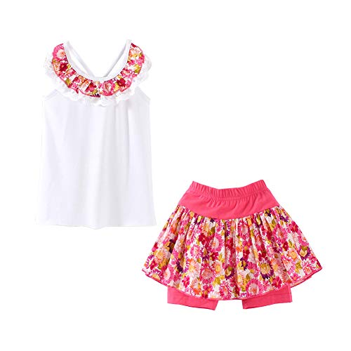 Toddler Girls Summer Clothes Floral Tank Top and Skirted Shorts Set White Size 4T