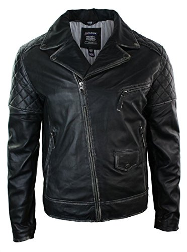 Mens Vintage Washed Brown Black Real Leather Biker Jacket Cross Zip Retro Casual (Washed Jacket Leather Biker)