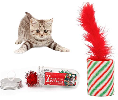 ALIOO Handheld Christmas Cat Toy Interactive Feather Xmas Cylindrical and - Pellet Cylindrical