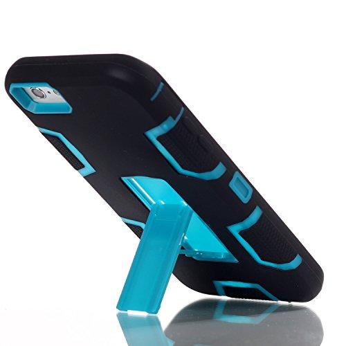 iPhone 6 6S Hülle , Heavy Duty Kickstand Blue PU Harte Rüstung Tasche Schutzhülle Shockproof Handyhülle Stoßdämpfende Schale Fall Case Shell Halter für Apple iPhone 6 6S