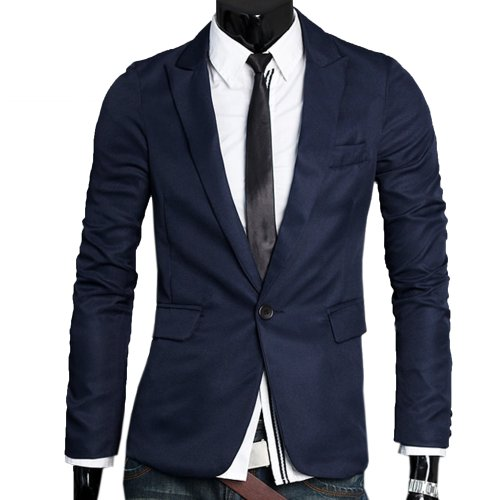Zeagoo Men's V-Neck One Button Blazer Suit