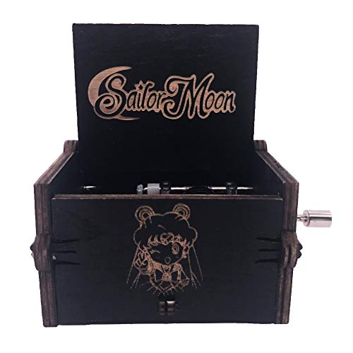 Sailor Moon Music Box Hand Crank Musical Box Carved Wooden,Play Sailor Moon Theme Song (Black) (Sailor Moon Material)