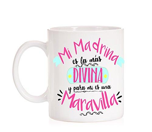 728e5e6ed Taza Mi Madrina es la más divina y para mi es una maravilla. Taza para  regalar a madrinas  Amazon.es  Hogar