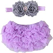 2pcs Newborn Baby Girls Chiffon Bloomer & Headband Set Newborn Photo Prop Baby Girl Cake Smash Outfit Lave