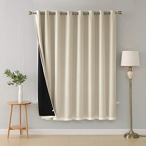 Deconovo Double Layer Wide Curtains Modern Linen Look Blackout Wide Curtains Room Divider for Bedroom 100x84 Inch Beige 1 Panel (High Dividers Room End)