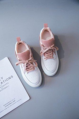 Cuero Deporte Otoño Confort color Nuevo Zapatillas Sneakers De 2018 Cuña Zapatos Rosado Casuales Tamaño Fondo Damas Talón Primavera Casuales 38 Mujer Grueso AIxPw