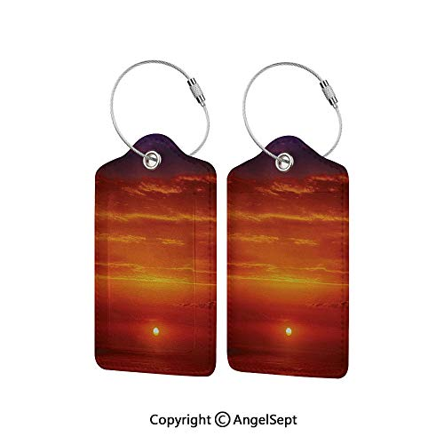 Name ID Labels Set for Travel Travel ID Bag Tag in Many Pattern,Sunrise over The Sea in the Morning Shoreline Natural Waterscape View Scene Print 1 PCS Orange Red Purple,With Full Privacy Cover w/Ste