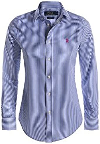 Polo Ralph Lauren. Camisas - Rayas - Clásico - para mujer azul Light Blue/White Stripe Small: Amazon.es: Ropa y accesorios