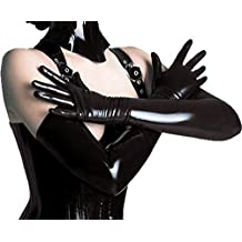 LHS Charmer Women's Sexy Elastic Shiny Wet Look Satin Long Gloves