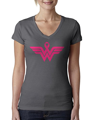 Best Friend Pink Ribbon - Breast Cancer Awareness Pink Ribbon Superhero Logo Ladies V-Neck T-Shirt X-Large Charcoal
