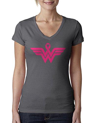 Breast Cancer Awareness Pink Ribbon Superhero Logo Ladies V-Neck T-Shirt X-Large Charcoal ()