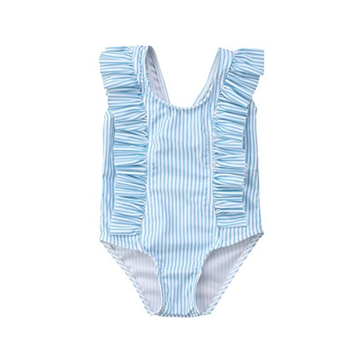 Ruffle Swimsuit Infant One Piece (GSHOOTS Baby Girls' Striped Ruffle Swimsuit Bikini Swimwear (90/12-18 Monthss, Striped Blue))