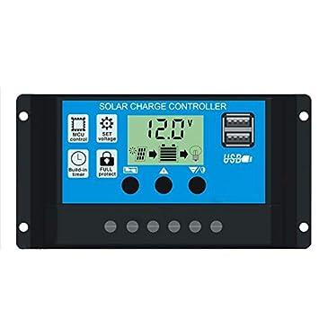 CamKpell Controlador de Cargador Solar 20A Regulador ...
