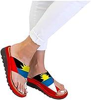 MITCOWBOYS Sandals for Women Wide Width Open Toe Non-Slip Beach Travel Shoes Women's Flats Wedges San