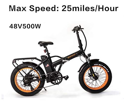 "SOHOO 48V500W12AH 20"" x4.0 Folding Fat Tire Electric Bicycle Mountain E-Bike Removable Battery Foldable Snow Electric Bike"