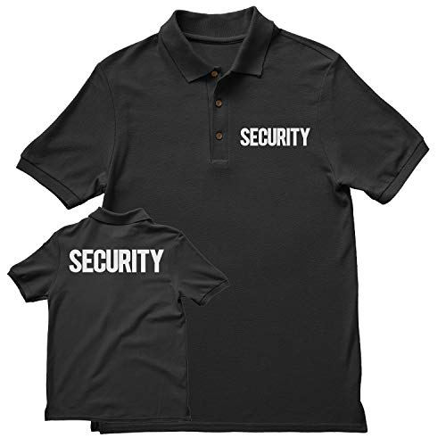 NYC FACTORY Security Polo Shirt Front Back Print Mens Tee Staff Event Uniform Bouncer Screen Printed (Black-White, 2XL) -