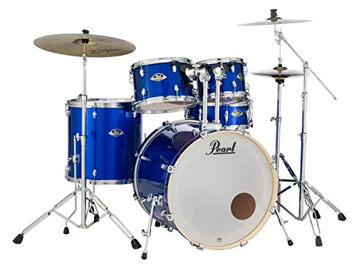 Pearl Export Bass Drum - Pearl Export EXX 5-Piece Drum Set With Cymbals & Hardware - High Voltage Blue