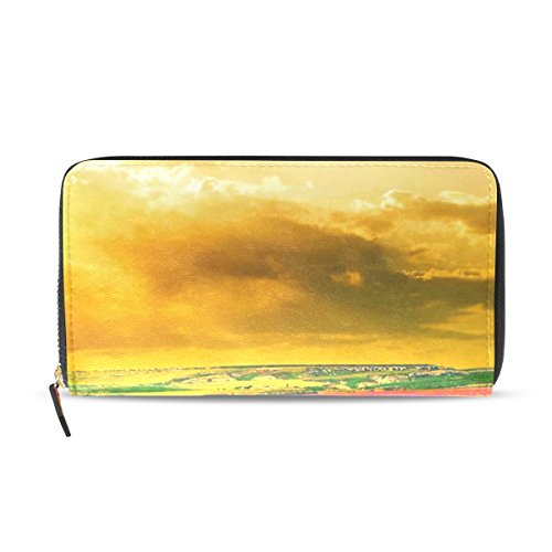 Ethel Ernest PU Leather Card Cash Coin Wallets Purse Lavender Flower Colorful Golden Glow Sunset Field Zipper Clutch Purse For Womens