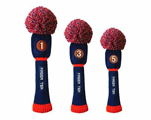 FINGER TEN Pom Pom Golf Club Head Covers for Driver Fairway Hybrid Wood, Vintage Knit Black Blue Pnk 1 3 5 Men Women Set (3 Pack(Driver&Fairway&Hybrid), Dark Blue/Red)