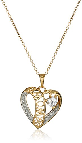 18k Yellow Gold Plated Sterling Silver Two-Tone Created White Sapphire Mom Heart Pendant Necklace, 18