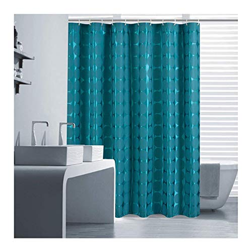 Ufatansy Uforme Contemporary Extra Long Shower Curtain and Liner Polyester Soap Resistant with Rings, Geometric Pattern Bathroom Curtain Mildew Proof for Luxury Bath, Teal -