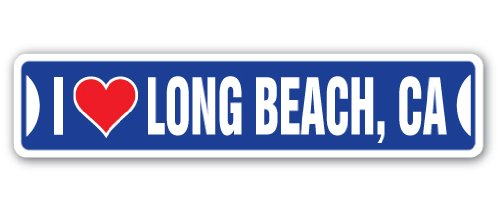 I LOVE LONG BEACH, CALIFORNIA Street Sign ca city state us wall road décor gift