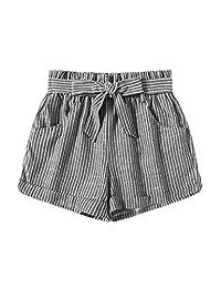 SweatyRocks Mujer Casual Cintura Elástica Pantalones Cortos de Playa de Verano de Rayas con Bolsillos