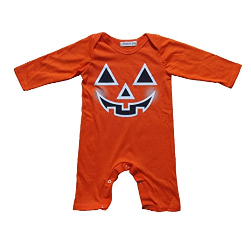 Kehen Infant Baby Toddler Boy Girl Halloween Clothes Autumn Winter Outfit Cotton Pajamas Long Sleeve Romper Pumpkin Pjs (Orange, 6-12 Months)