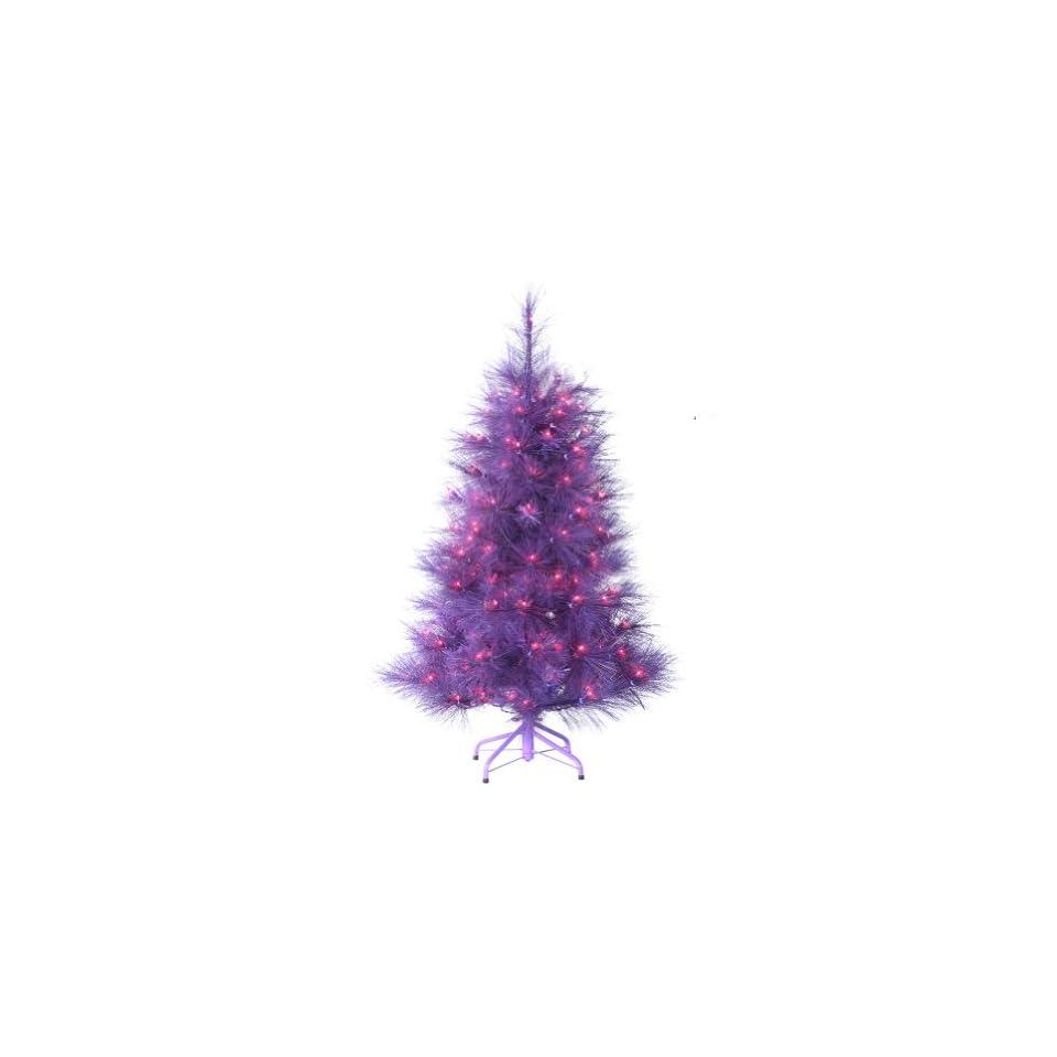 "4 Foot Pre lit ""Feathered Winter Twilight"" Christmas Tree with Lights   Purple Christmas Tree"