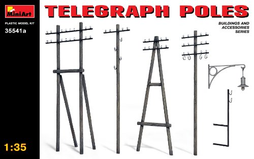 (MiniArt 35541A Telegraph Poles - Updated Set, Buildings and Accessories Collection 1/35 Scale Model Kit )