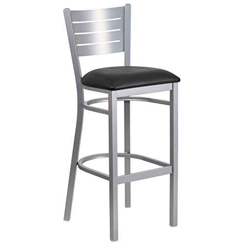 Flash Furniture HERCULES Series Silver Slat Back Metal Restaurant Barstool - Black Vinyl Seat