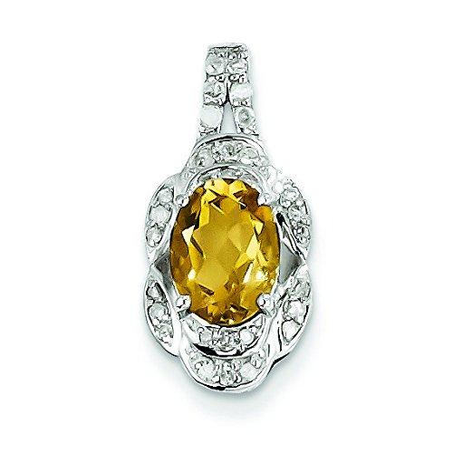 Argent Sterling diamant et Quartz à Whisky JewelryWeb pendentif ovale