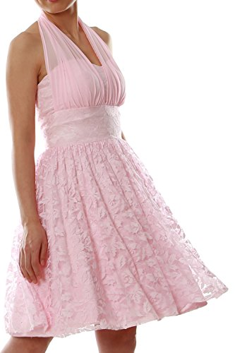 Gown Bridesmaid Zartrosa Cocktail Women Short Wedding Lace Dress MACloth Halter Party nRzwSIg