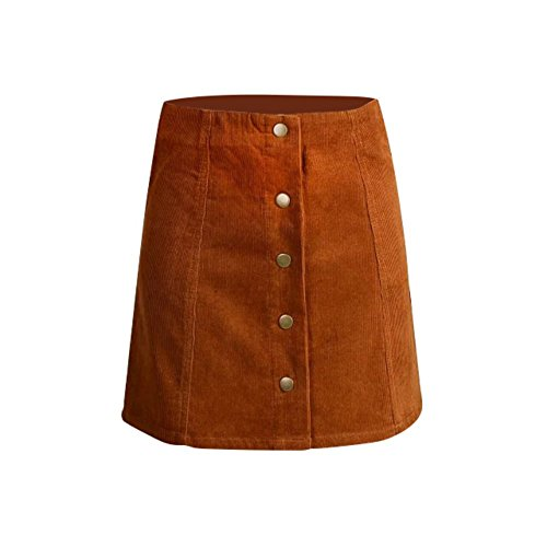 Leezo Women Winter Mini Skirts Petite Vintage Corduroy Button Front A-Line Skirt (X-Large, Orange)