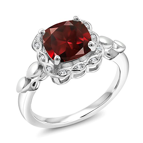 (Gem Stone King Red Garnet and White Created Sapphire 925 Sterling Silver Women's Ring 2.84 Ct Cushion Cut Available in size 5, 6, 7, 8, 9)