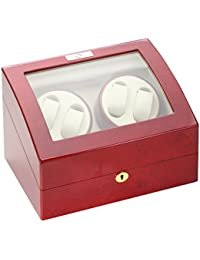 31-414 Cherry Wood Quad Watch Winder with Off-White Leather Interior