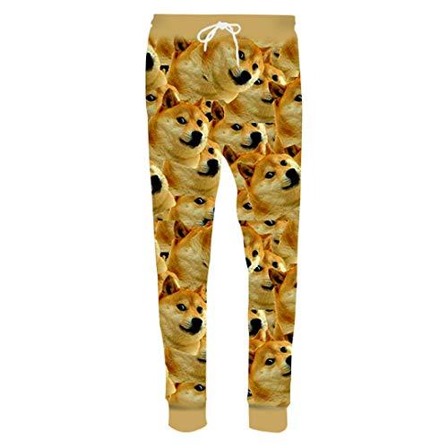 KuiLoug 3D Print Dog Trousers Male Oversized Plus Size Pockets Loose Meme Casual Pants Men Funny Clothing 3D Meme Pants XXL ()
