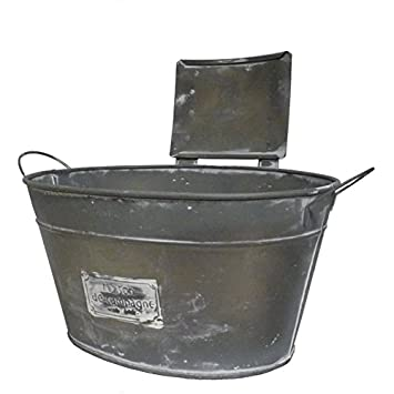 Gran macetero estilo cinc o Cache Pot Metal con texto casa de campaña estilo rústico (