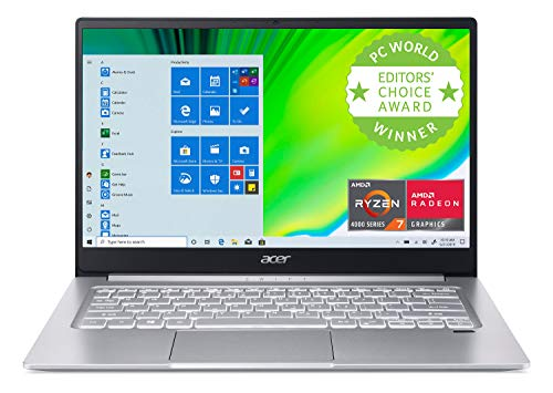 Acer Swift 3 Thin & Light Laptop, 14″ Full HD IPS, AMD Ryzen 7 4700U Octa-Core with Radeon Graphics, 8GB LPDDR4, 512GB NVMe SSD, Wi-Fi 6, Backlit KB, Fingerprint Reader, Alexa Built-in, SF314-42-R9YN