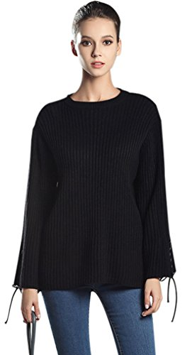 Gihuo Women's Casual O Neck Long Bell Sleeve Ribbed Knitted Pullover Sweater (One Size, Black)