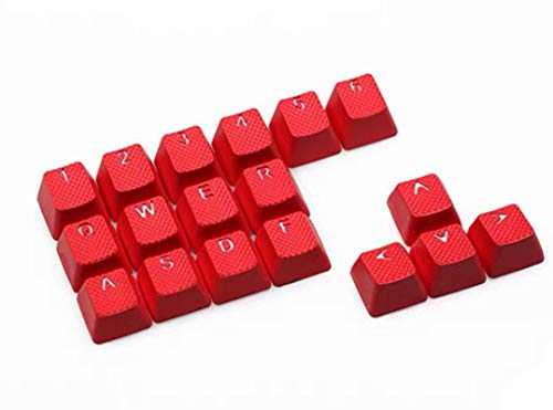 Rubber Gaming Backlit Keycaps Set - for Cherry MX Mechanical Keyboards Compatible OEM Include Key Puller (Red)