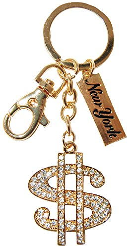 Huge Money $ Sign Fabulous Gold Diamond Studded Keychain