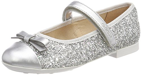 Geox Girls' Plie 46 Ballet Flat, Silver, 29 M EU Little Kid (11 US) (Geox Flats Leather)