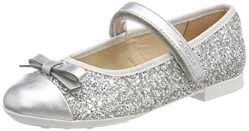 Geox Girls' Plie 46 Ballet Flat, Silver, 29 M EU Little Kid (11 US) (Flats Geox Leather)
