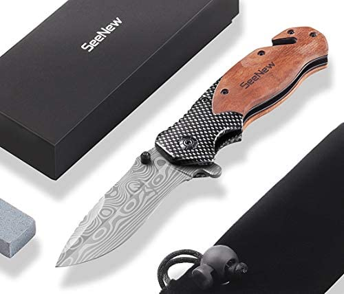 Rescue Pocket Knife with Flipper, Survival Folding Knife with Seat Belt Cutter and Glass Breaker, Outdoor Sturdy Tactical Pocket Knife with Steel Blade, Thumb Stud and Clip